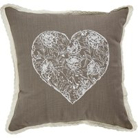 Grey Ivy Heart Cushion Grey