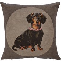 Bridgette Grey Dachshund Cushion Grey