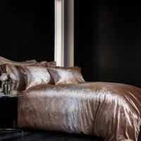 Valentina Velvet Gold Duvet Cover and Pillowcase Set Gold