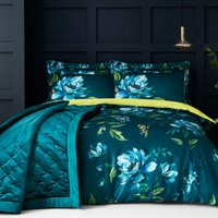 Charm Floral Teal Reversible Duvet Cover and Pillowcase Set Teal