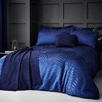 Theo Blue Jacquard Duvet Cover and Pillowcase Set Blue