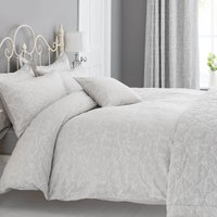 Etienne Stone Jacquard Duvet Cover and Pillowcase Set Stone (grey)
