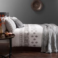 Zofia White Embroidered Duvet Cover and Pillowcase Set White
