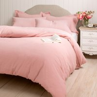 Lara 100% Cotton Pink Duvet Cover and Pillowcase Set Blush