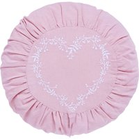 Ruched Pink Round Heart Cushion Pink