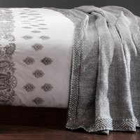 Foil Knit Silver Throw Silver