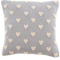French Knot Hearts Cushion Natural