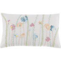 Summer Floral Embroidered Cushion Cover Multi Coloured