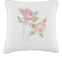 Floral Cross Stitch Cushion Blush