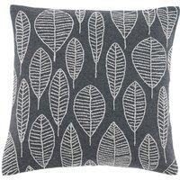 Elements Riley Grey Embroidered Leaf Cushion Cover Grey