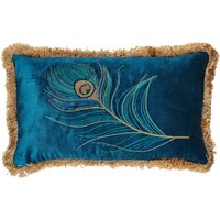 Blue Peacock Fringed Cushion Blue
