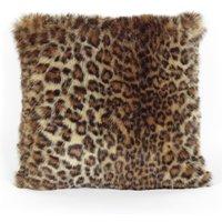 Leopard Print Faux Fur Cushion Natural