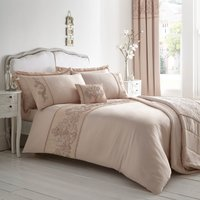 Arriety Embroidered Pink Duvet Cover and Pillowcase Pink