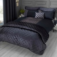 Octavia Emboridered Navy Blue Duvet Cover and Pillowcase Set Blue