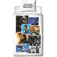 Star Wars Rogue 1 Battle Duvet Cover and Pillowcase Set Blue / White
