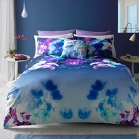 Lipsy Digitally Printed 100% Cotton Mirrored Orchid Duvet Cover and Pillowcase Set Multi Coloured