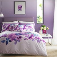 Lipsy Translucent Bloom Digitally Printed 100% Cotton Duvet Cover and Pillowcase Set White and Purple