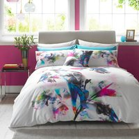 Lipsy Watercolour Lily Digitally Printred 100% Cotton Duvet Cover and Pillowcase Set White and Purple