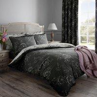 Pivoine Grey Reversible Duvet Cover and Pillowcase Set Grey