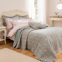 Vintage Floral Bedspread Blue/Pink