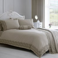 Gretta Grey Lace Embroidered Duvet Cover and Pillowcase Set Grey
