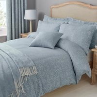 Marsella Blue Jacquard 100% Cotton Duvet Cover and Pillowcase Set Blue