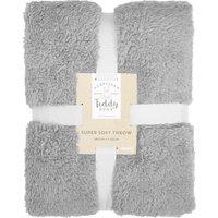 Teddy Bear Grey Throw Grey