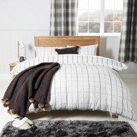 Grey Check 100% Cotton Duvet Cover and Pillowcase Set Grey