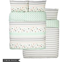 Geo Banded Twin Pack Reversible Duvet Cover and Pillowcase Set Green/White/Red/Grey