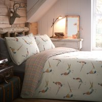 Pheasant Reversible Duvet Cover and Pillowcase Set Multi Coloured