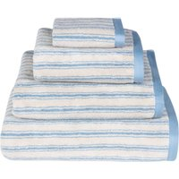 Emily Bond Blue Ticking Stripe Cotton Towel Blue
