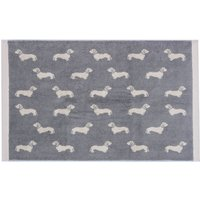 Emily Bond Grey Dachshund Cotton Bath Mat Grey
