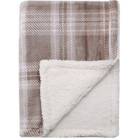 Checked Reverse Sherpa Fleece Natural Throw Natural