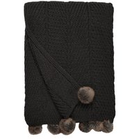 Chunky Knit Pom Pom Charcoal Throw Charcoal (Grey)
