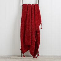 Sparkle Knit Red Throw Red