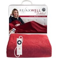 Relaxwell Luxury Heated Red Throw Red