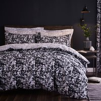 Hadley Black Reversible Duvet Cover and Pillowcase Set Black
