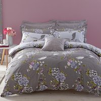 Crane Grey Reversible Duvet Cover and Pillowcase Set Grey