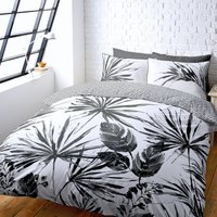 Tropics Black and White Reversible Duvet Cover and Pillowcase Set White