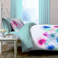 Leilani Digitally Printed 100% Cotton Duvet Cover and Pillowcase Set Multi-coloured