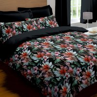 Odiana Digitally Printed 100% Cotton Black Duvet Cover and Pillowcase Set Black
