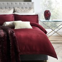 5A Fifth Avenue Empire Jacquard 100% Cotton Duvet Cover and Pillowcase Set Wine (Red)