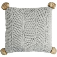 Chunky Knit Grey Pom Pom Cushion Grey