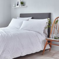 White Woven Spot 100% Cotton Duvet Cover and Pillowcase Set White