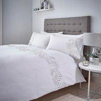 Metallic Feather 100% Cotton Duvet Cover and Pillowcase Set White