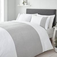 Hepworth Grey Spotted 100% Cotton Duvet Cover and Pillowcase Set White