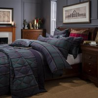 Dorma Lomond Blue Brushed Cotton Duvet Cover and Pillowcase Set Blue