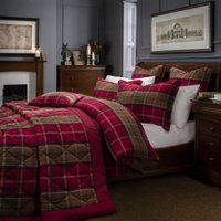 Dorma Lomond Red Brushed Cotton Duvet Cover and Pillowcase Set Red