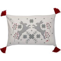 Jan Constantine Boxing Hares Rectangular Cushion Multi Coloured