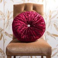 Loire Round Red Velvet Cushion Red